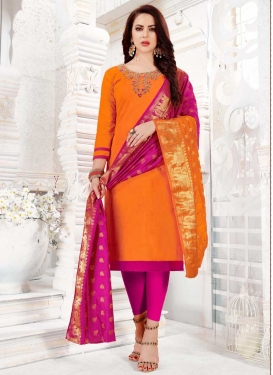 Orange and Rose Pink Churidar Salwar Suit For Casual