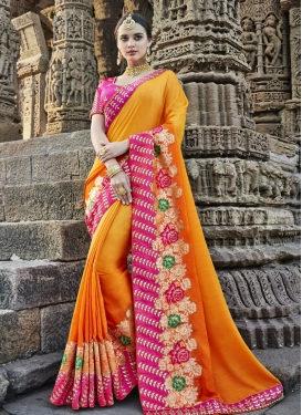 Orange and Rose Pink Classic Saree