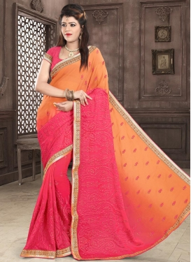 Orange and Rose Pink Classic Saree For Party