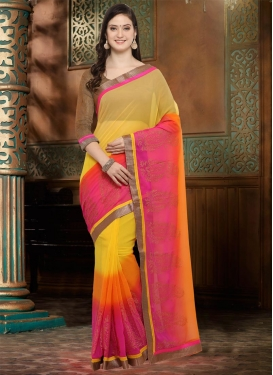 Orange and Rose Pink Contemporary Style Saree For Casual