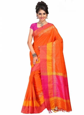 Orange and Rose Pink Contemporary Style Saree For Ceremonial