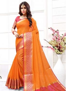 Orange and Rose Pink Cotton Silk Designer Traditional Saree