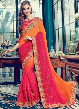 Orange and Rose Pink Designer Contemporary Style Saree For Festival