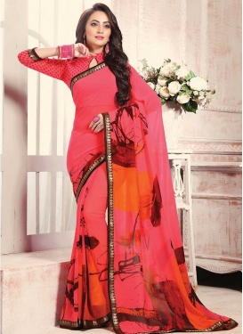 Orange and Rose Pink Digital Print Work Contemporary Style Saree