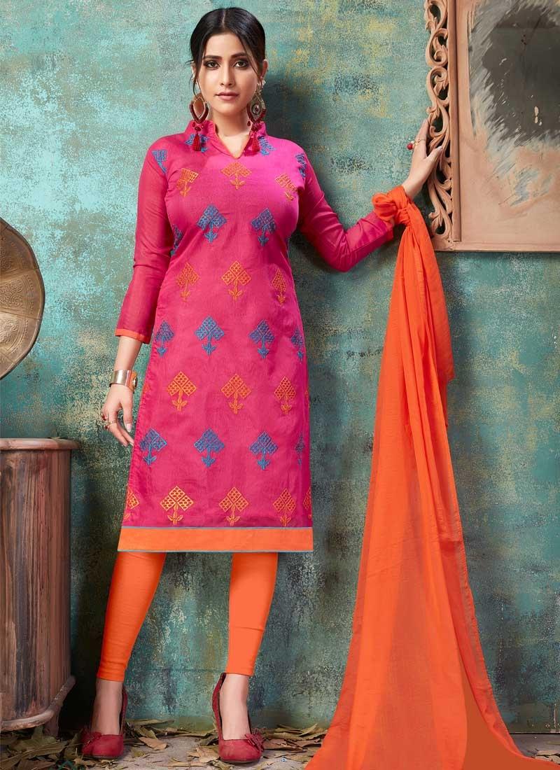 Orange and Rose Pink Embroidered Work Churidar Salwar Kameez