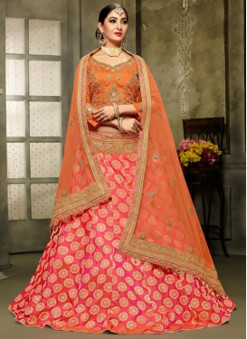 Orange and Rose Pink Embroidered Work Trendy Lehenga Choli