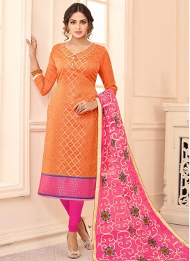 Orange and Rose Pink Embroidered Work Trendy Straight Salwar Suit