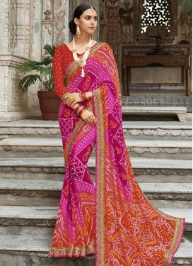 Orange and Rose Pink Faux Georgette Contemporary Style Saree