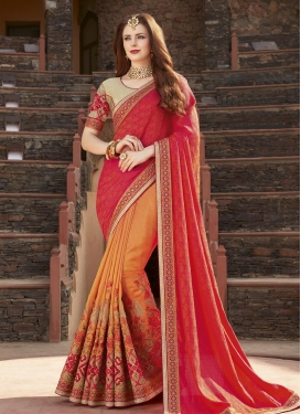 Orange and Rose Pink Lace Work Half N Half Trendy Saree
