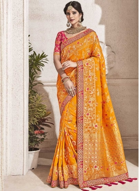 Orange and Rose Pink Lace Work Trendy Classic Saree
