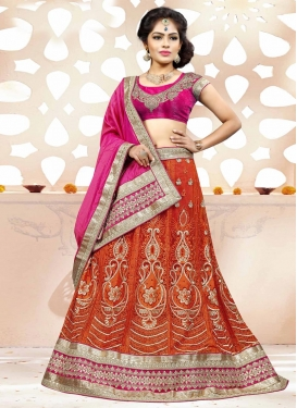 Orange and Rose Pink Net Trendy Lehenga For Festival
