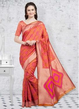 Orange and Rose Pink Patola Silk Contemporary Saree