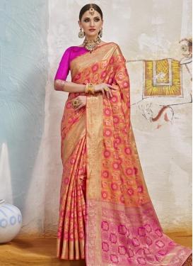 Orange and Rose Pink Thread Work Classic Saree