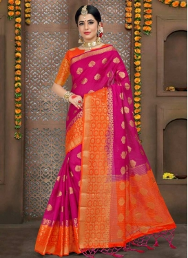Orange and Rose Pink Thread Work Contemporary Style Saree