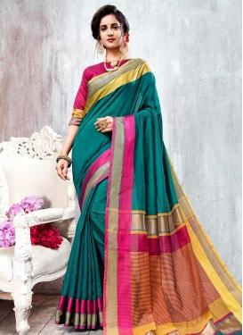 Orange and Rose Pink Thread Work Designer Traditional Saree