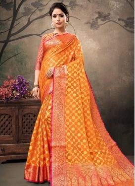Orange and Rose Pink Thread Work Trendy Classic Saree