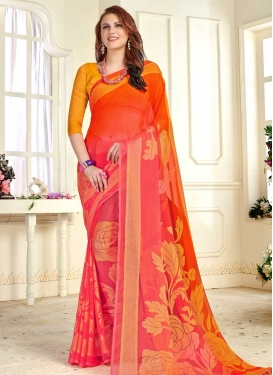 Orange and Rose Pink Traditional Designer Saree