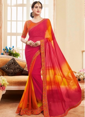 Orange and Rose Pink Traditional Saree