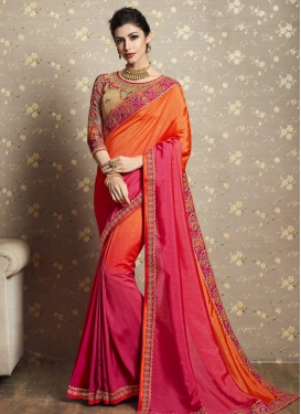 Orange and Rose Pink Traditional Saree For Ceremonial