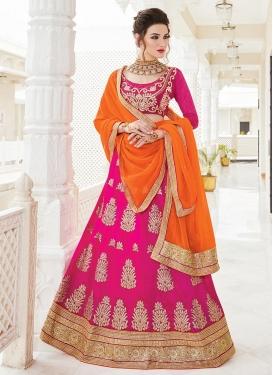 Orange and Rose Pink  Trendy A Line Lehenga Choli