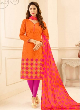 Orange and Rose Pink Trendy Churidar Salwar Kameez For Casual