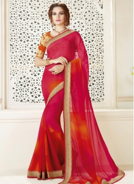 Orange and Rose Pink Trendy Classic Saree