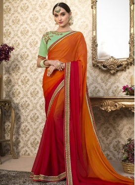 Orange and Rust Embroidered Work Classic Saree