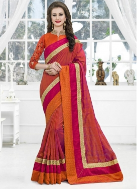 Orange and Rust Trendy Classic Saree For Party