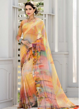 Orange and Salmon Digital Print Work Faux Georgette Designer Traditional Saree