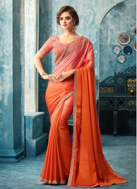 Orange and Salmon Silk Georgette Classic Designer Saree