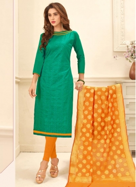 Orange and Sea Green Embroidered Work Churidar Salwar Kameez