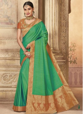 Orange and Sea Green Embroidered Work Traditional Saree