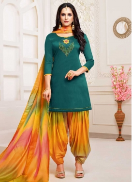 Orange and Teal Satin Silk Punjabi Salwar Kameez