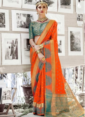 Orange and Teal Thread Work Contemporary Saree