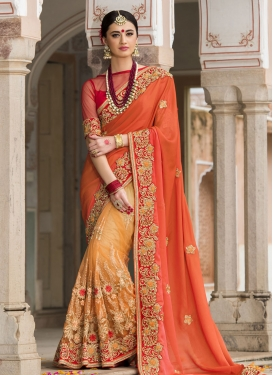 Orange and Tomato Net Half N Half Designer Saree For Bridal