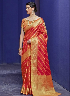 Orange and Tomato Patola Silk Trendy Classic Saree