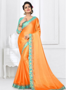 Orange and Turquoise Classic Saree For Ceremonial
