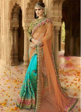 Orange and Turquoise Embroidered Work Designer Half N Half Saree