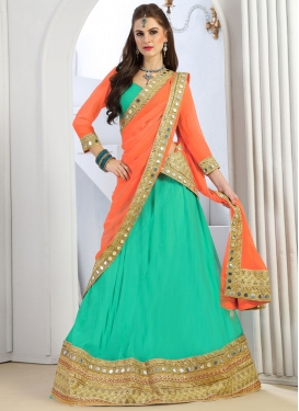 Orange and Turquoise Lace Work A - Line Lehenga
