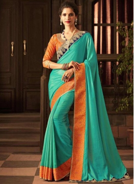 Orange and Turquoise Satin Georgette Traditional Saree For Ceremonial