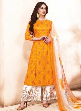 Orange and White Palazzo Style Pakistani Salwar Kameez