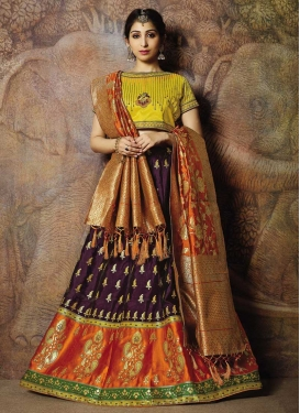 Orange and Wine Jacquard Silk Trendy Lehenga Choli