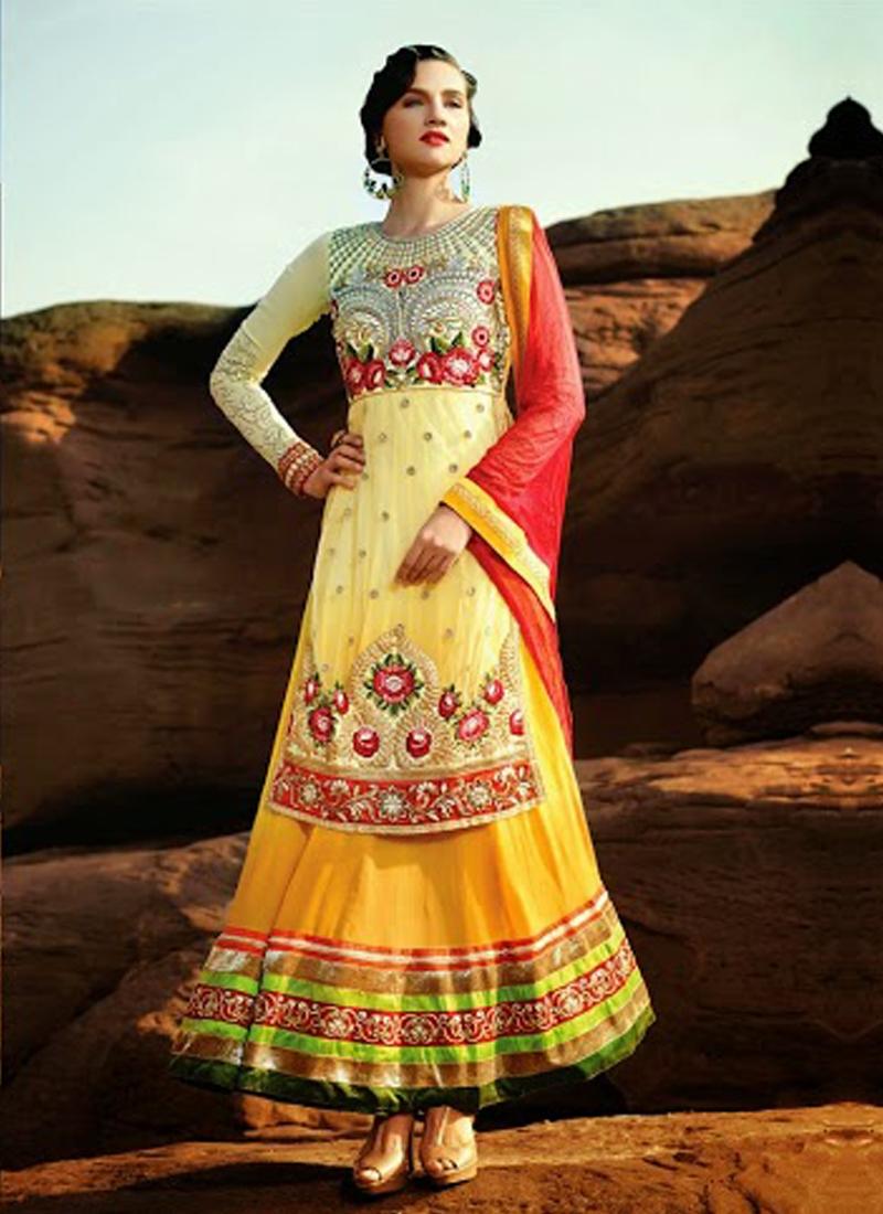 Orange And Yellow Color Designer Salwar Kameez
