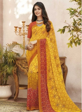Orange and Yellow Contemporary Style Saree For Casual
