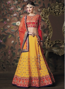 Orange and Yellow Embroidered Work A - Line Lehenga