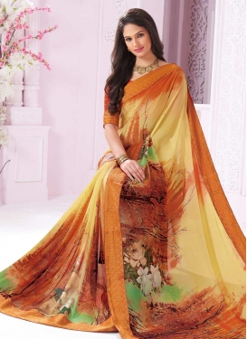 Orange and Yellow Faux Georgette Traditional Saree