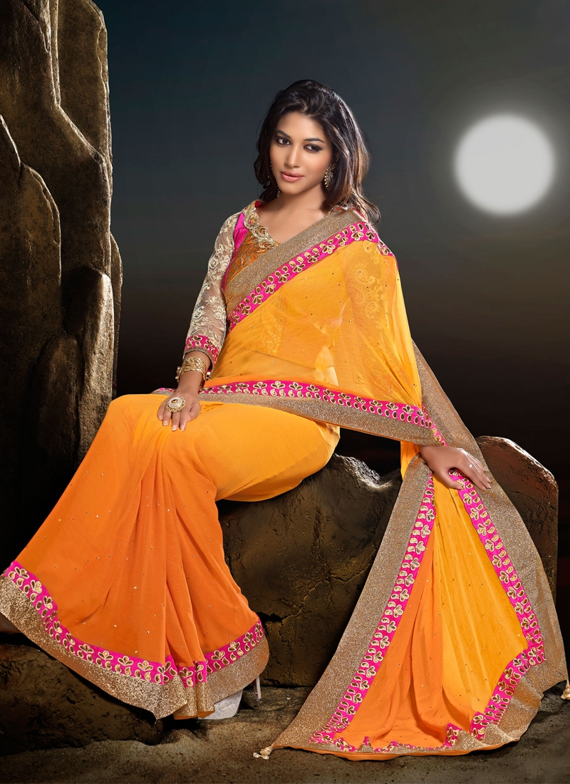 Orange Color Faux Georgette Party Wear Saree