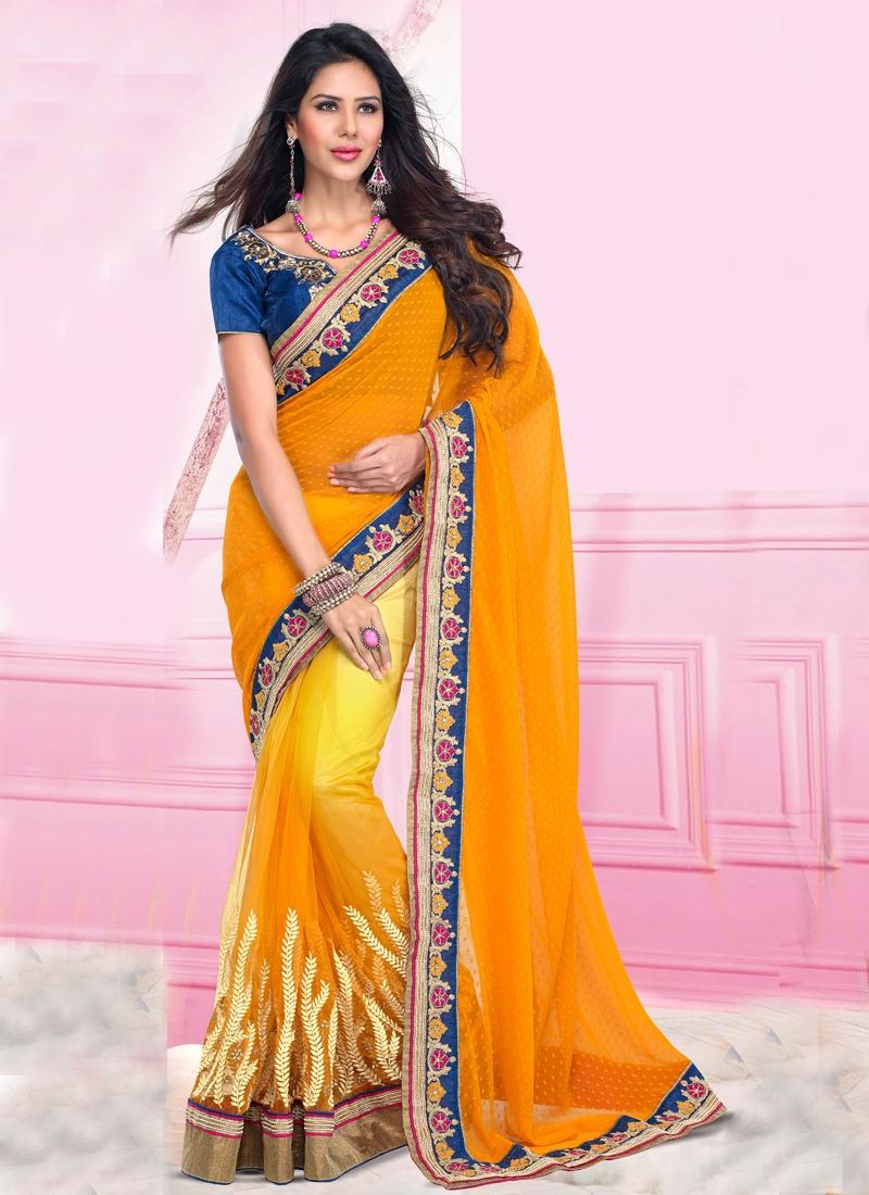 Orange Color Resham Work Party Wear Saree