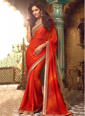 Orange Embroidered Work Trendy Saree