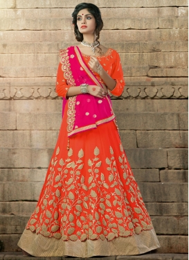 Orange Pure Georgette A - Line Lehenga